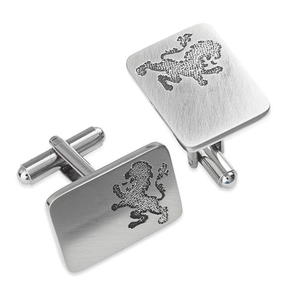 Lion Rampant Silhouette Pewter Cufflinks - TRCL508