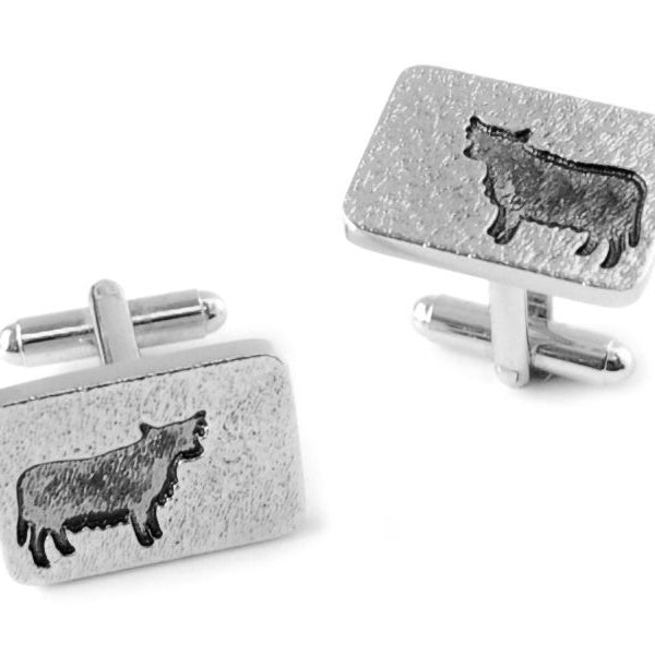 Highland Cow Silhouette Pewter Cufflinks - TRCL515