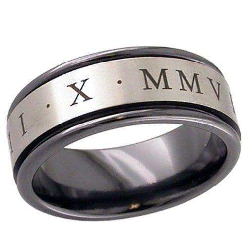 Zirconium Band with Roman Numerals - 4017RBRN-Ogham Jewellery
