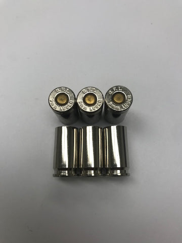 Fiocchi Nickel Plated 9mm Primed Brass From Pull Down / 500 Cases