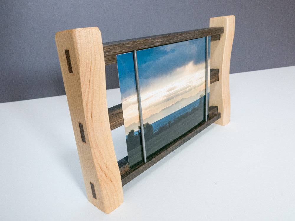 5 x 7 Easy Change Photo Frame - Handmade Maple / Greyed Oak