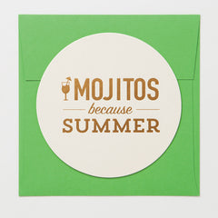 Mojitos Because Summer Coaster Card