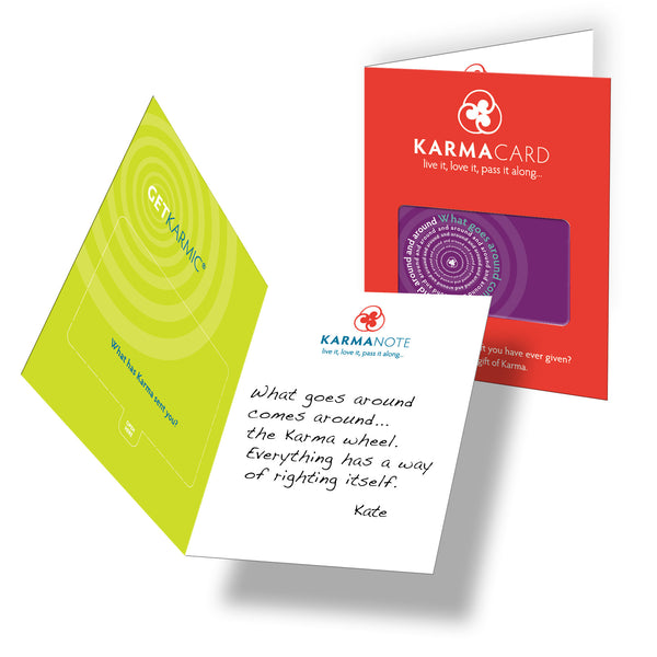 What Goes Around Karma Greeting Card Purple with Card