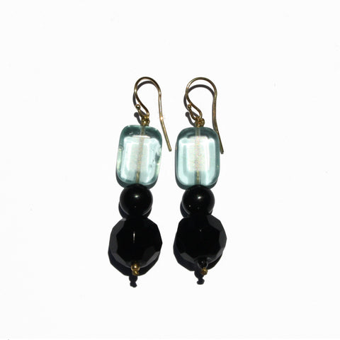 Aquamarine & Hematite Stone Earrings