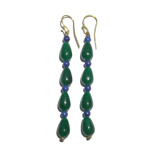Agate Earrings Green & Blue Long