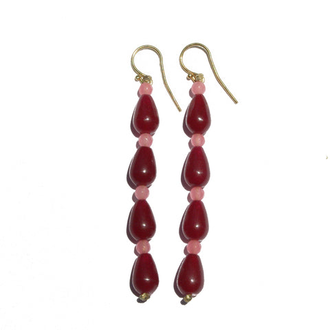 Agate Earrings Pink & Red Long