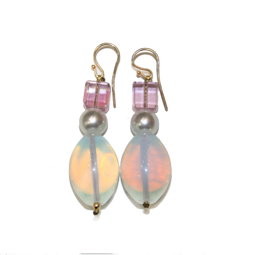 roses-are-red - Pearl & Moonstone Earrings - earrings