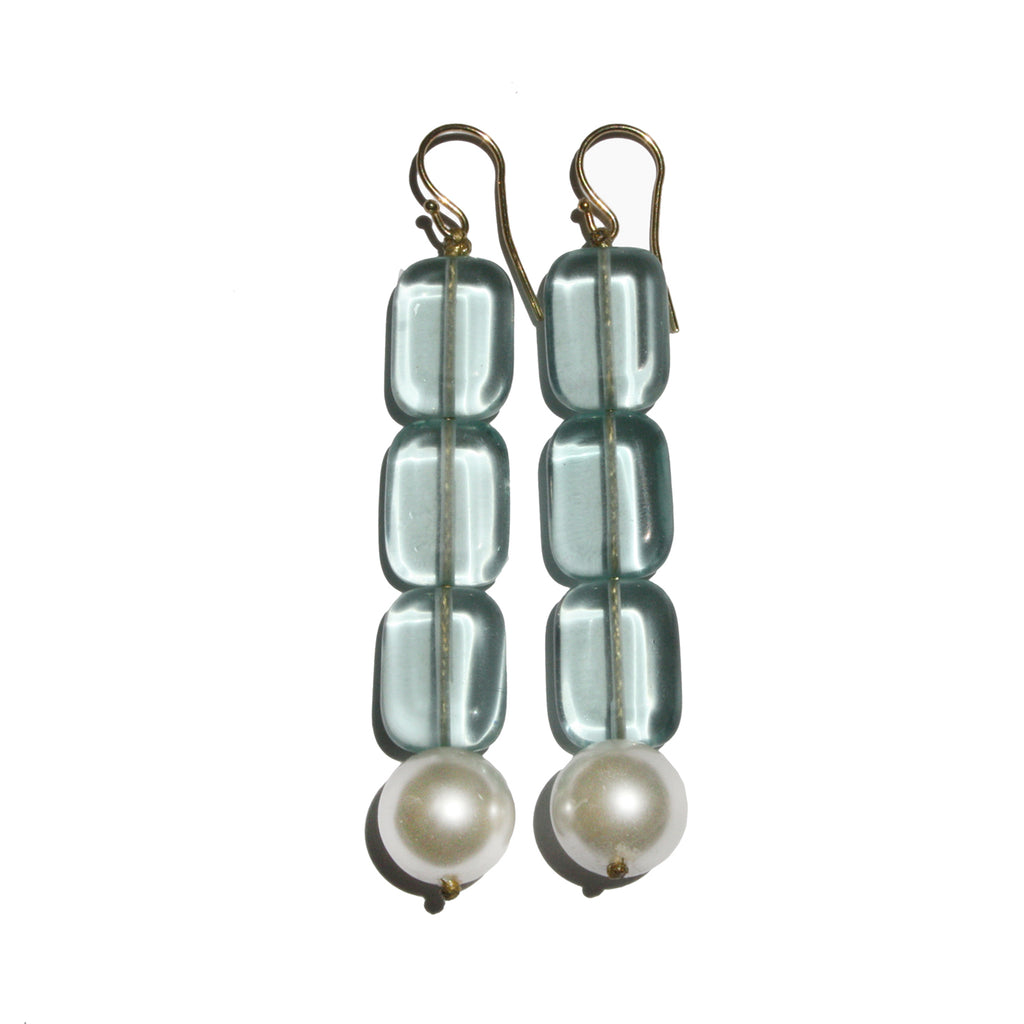 roses-are-red - Pearl & Aquamarine Earrings Long - earrings