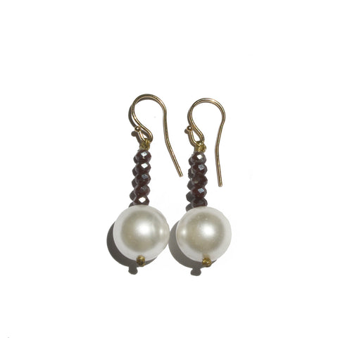 Pearl & Purple Crystal Earrings