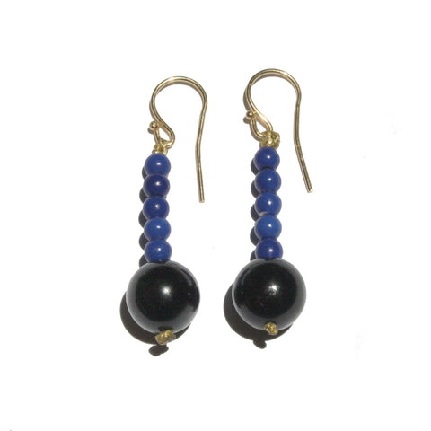 Hematite Blue & Black Semiprecious Stones Earrings