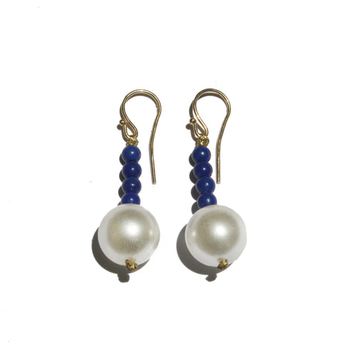 Hematite Blue & Pearls Earrings