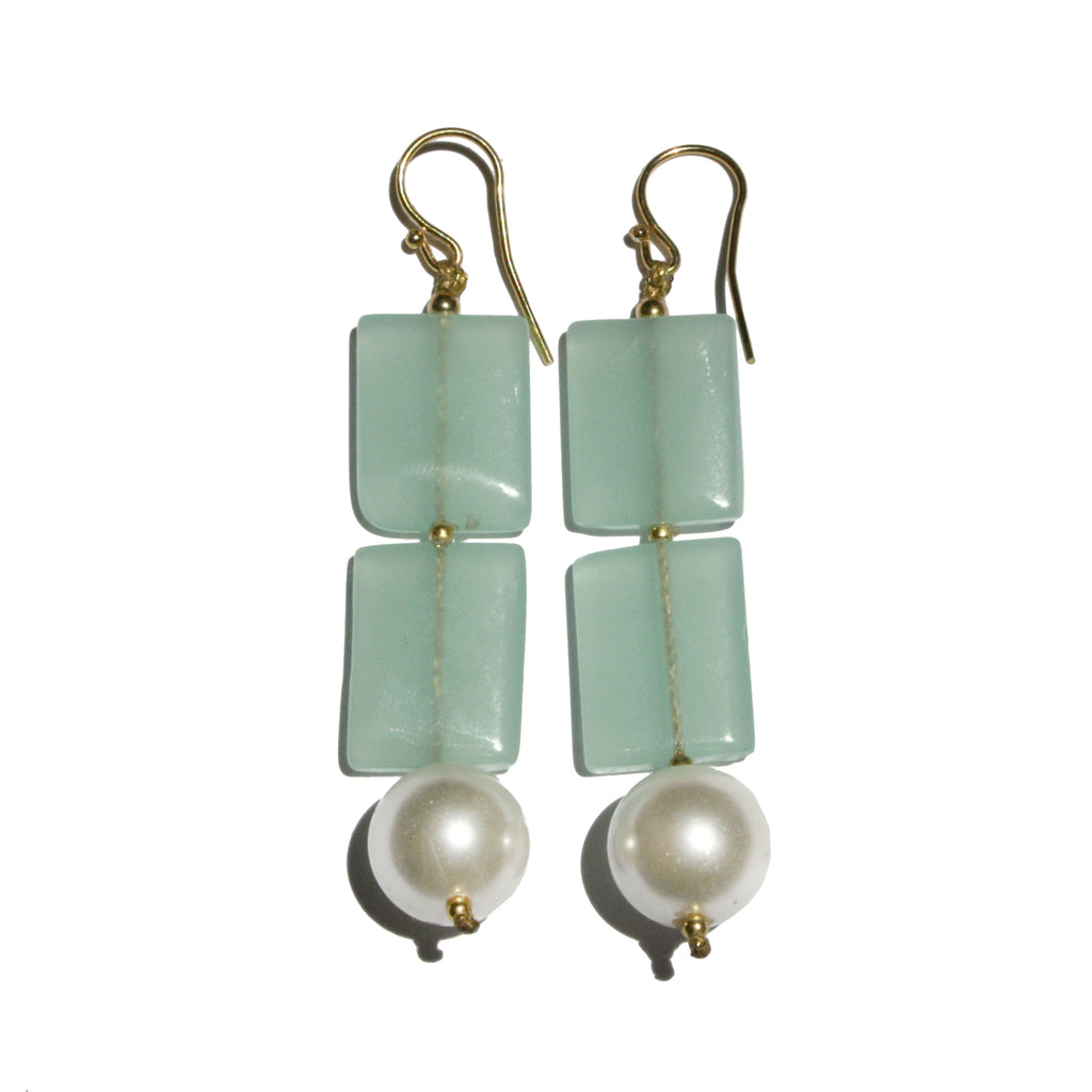 roses-are-red - Pearls & Aquamarine Earrings - earrings