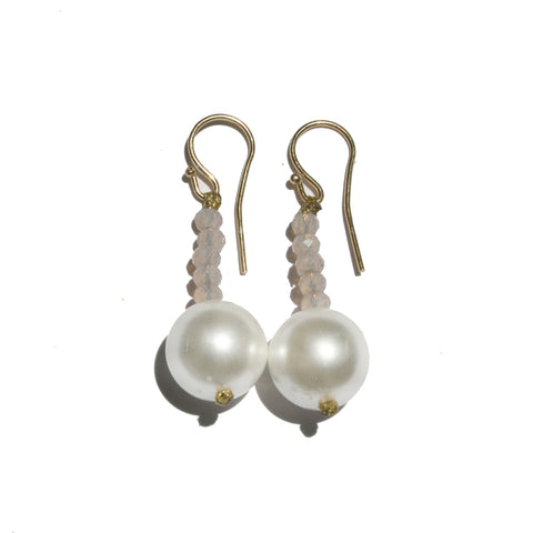 Pearl & Pink Crystal Earrings