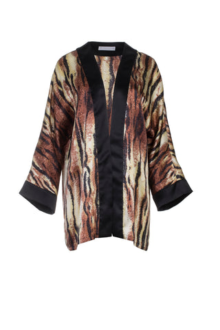 SILK CARDIGAN - ANIMAL PRINT