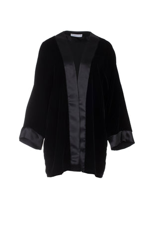 SILK VELVET CARDIGAN - BLACK