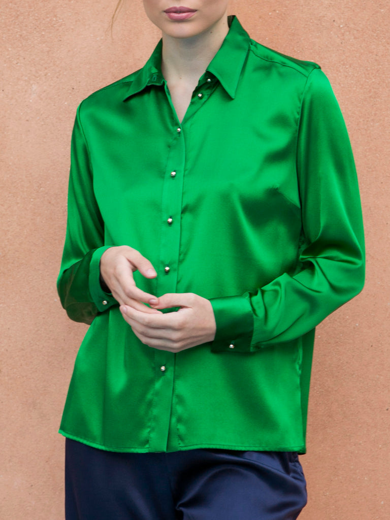 """THE PERFECT"" SILK SHIRT - EMERALD GREEN"
