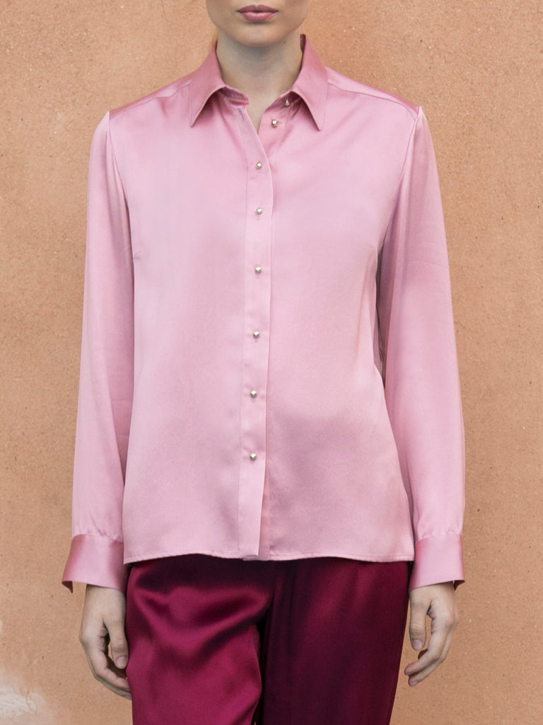 """THE PERFECT"" SILK SHIRT - DUSTY PINK"