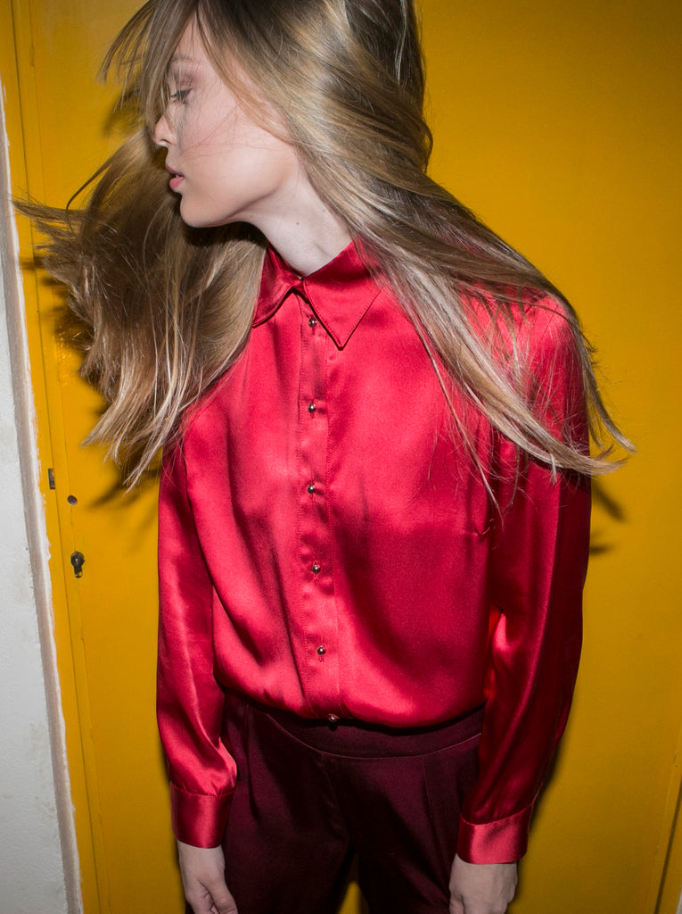 """THE PERFECT"" SILK SHIRT - RED"