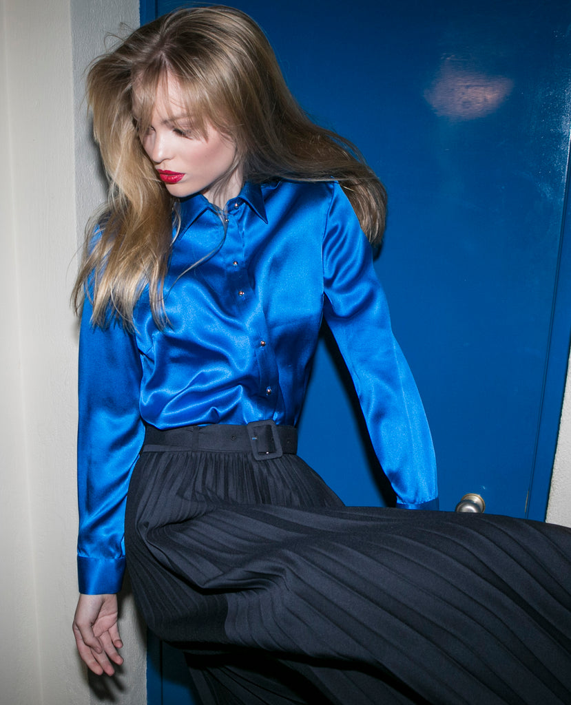 """THE PERFECT"" SILK SHIRT - ROYAL BLUE"