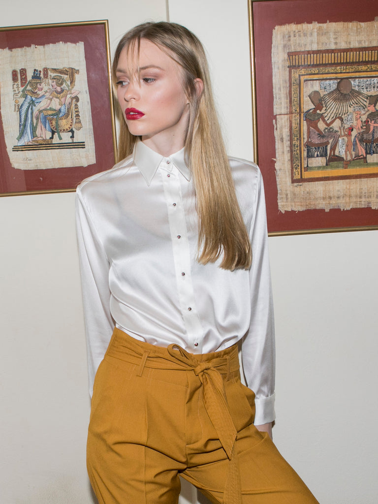 """THE PERFECT"" SILK SHIRT - WHITE"