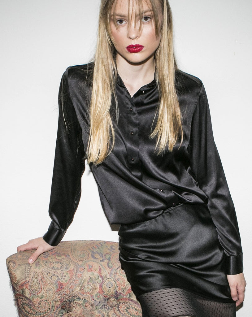 """THE PERFECT"" SILK SHIRT - BLACK"