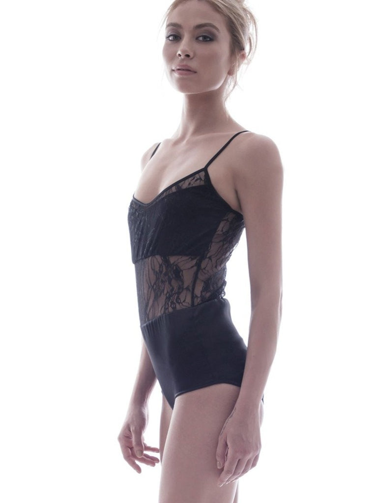 roses-are-red - DEUX JARDINS - SILK BODYSUIT IN BLACK - BODYSUIT