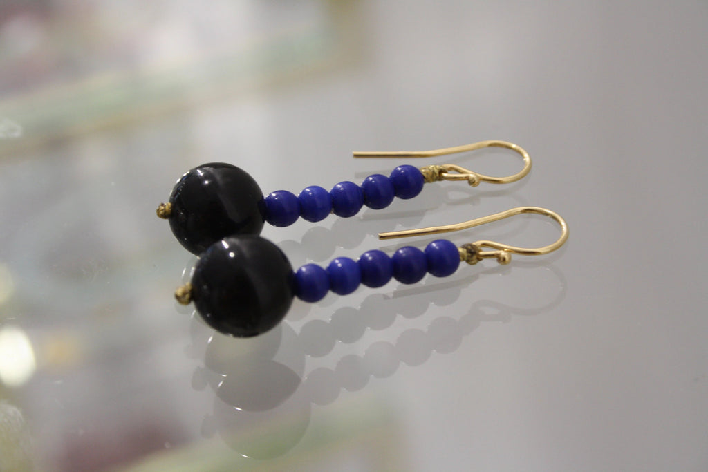 roses-are-red - Hematite Blue & Black Semiprecious Stones Earrings - earrings