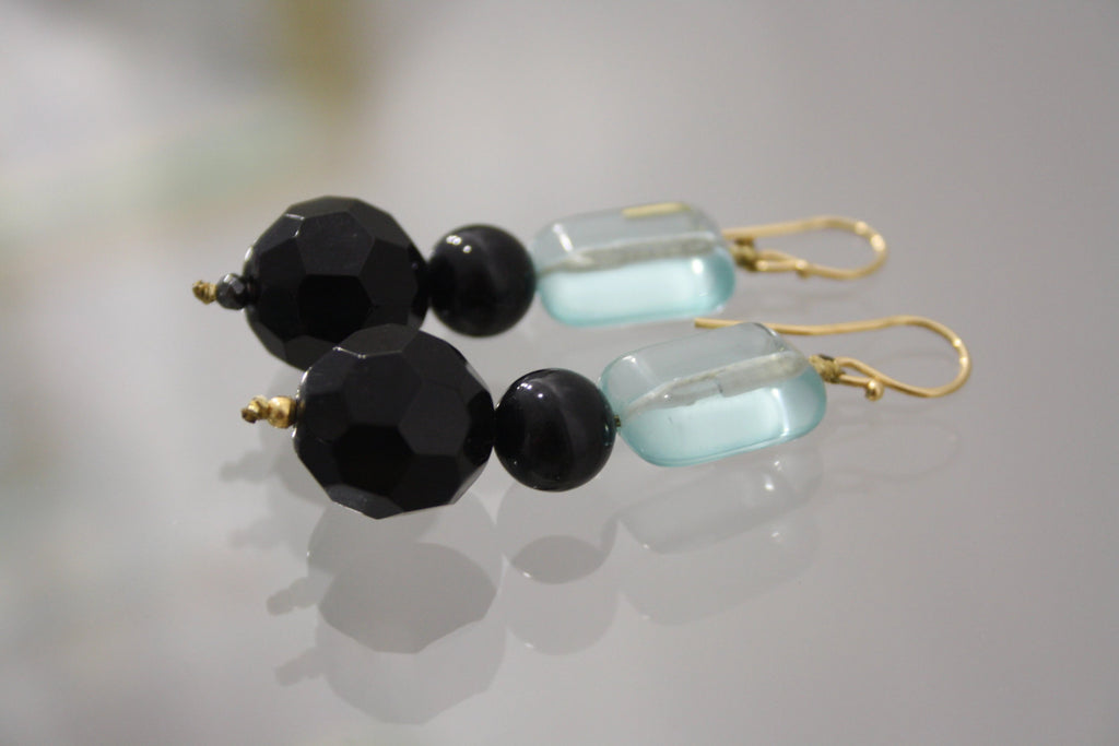 roses-are-red - Aquamarine & Hematite Stone Earrings - earrings