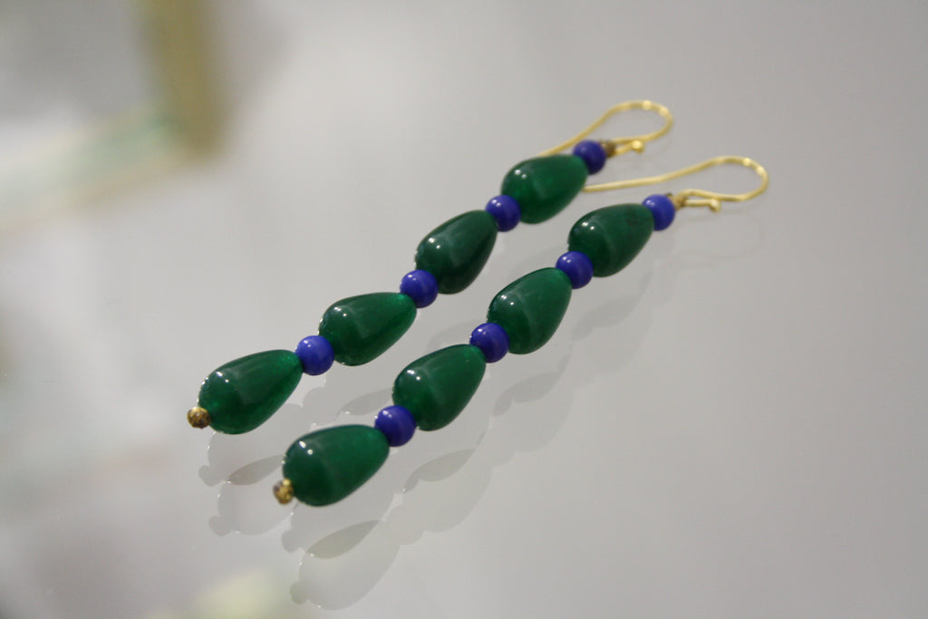 roses-are-red - Agate Earrings Green & Blue Long - earrings