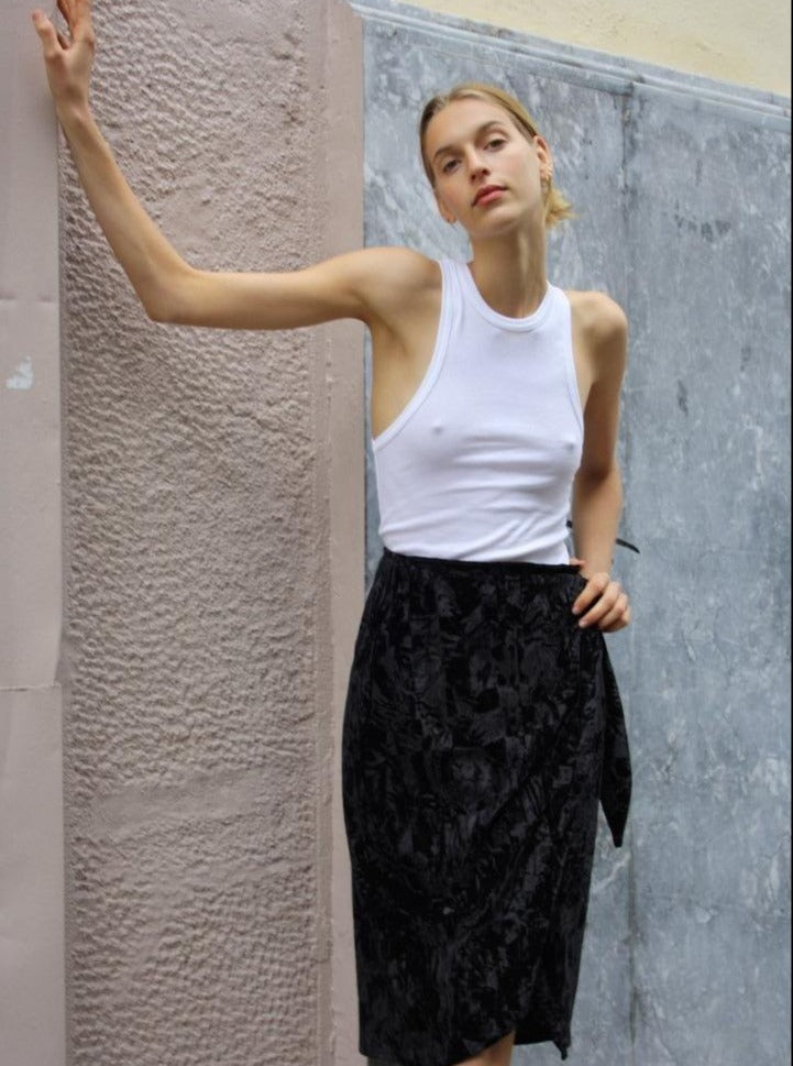ISABELLA WRAP SKIRT - BLACK