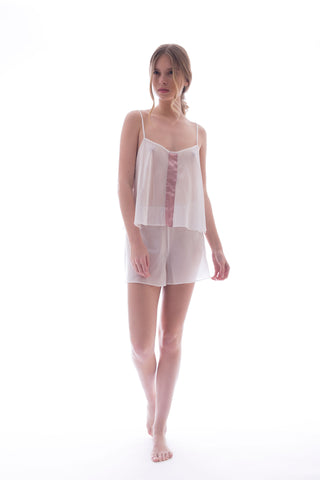 SILK TOP - WHITE / PINK
