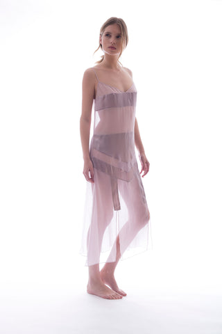 FOR TONIGHT (DRESS IN DUSTY PINK - 100% SILK)
