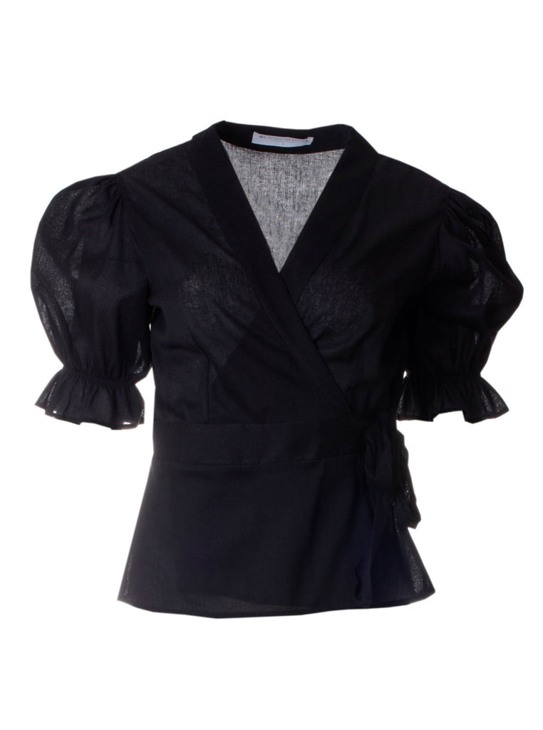 MARGOT COTTON WRAP TOP - BLACK