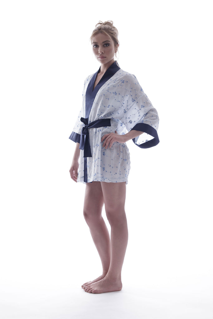 roses-are-red - SONATA FOR THE DAWN - SILK KIMONO IN BLUE - KIMONO