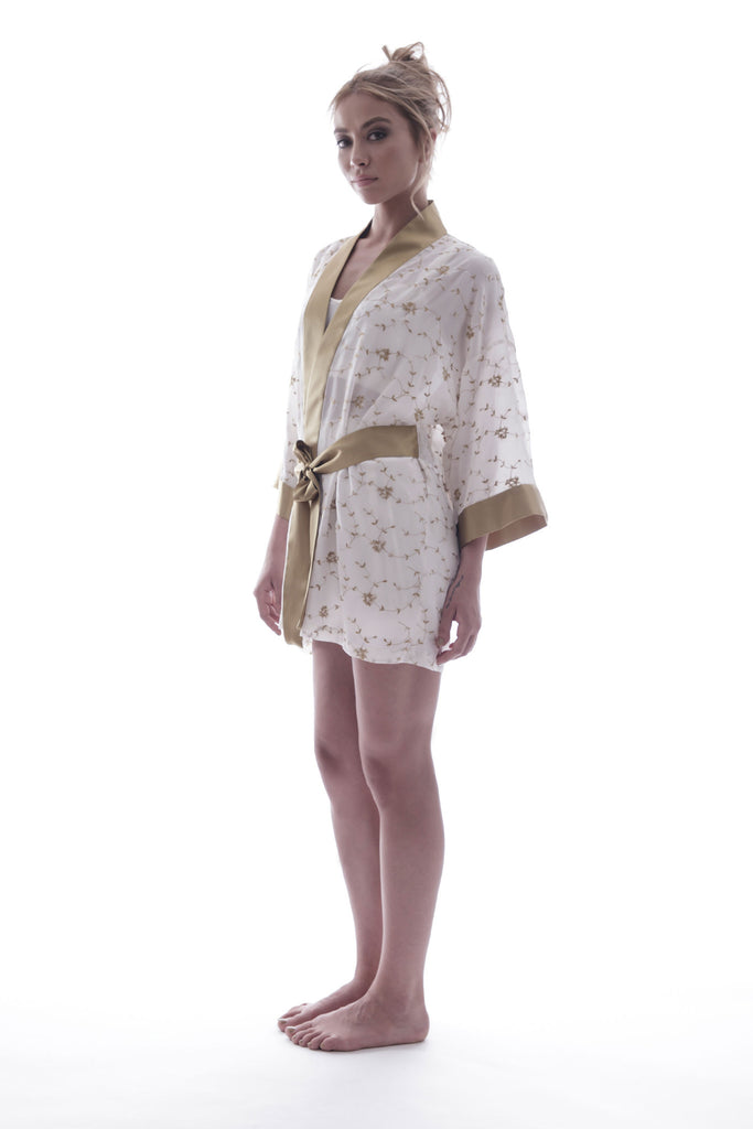 roses-are-red - SONATA FOR THE DAWN - SILK KIMONO IN IVORY - KIMONO