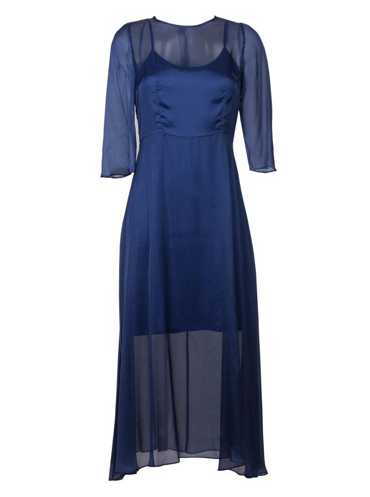 SILK MOUSSELINE DRESS - BLUE
