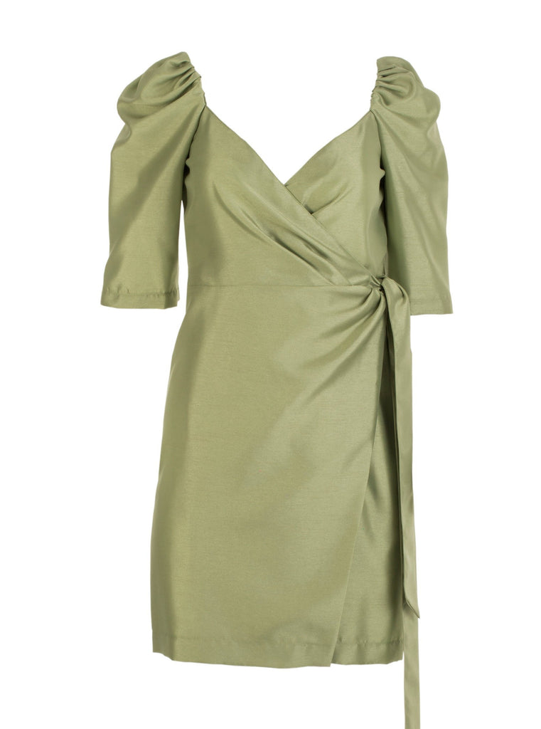 MIA TAFFETA DRESS - LIME