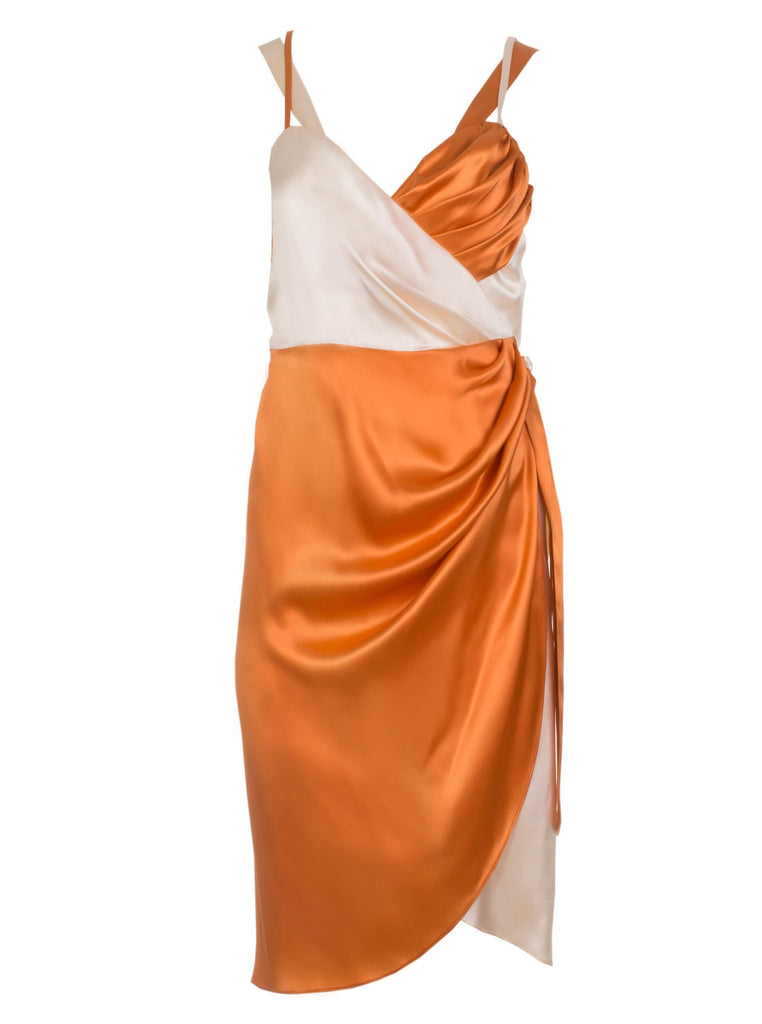 roses-are-red - LEA SILK WRAP DRESS - CORAL & IVORY - DRESS