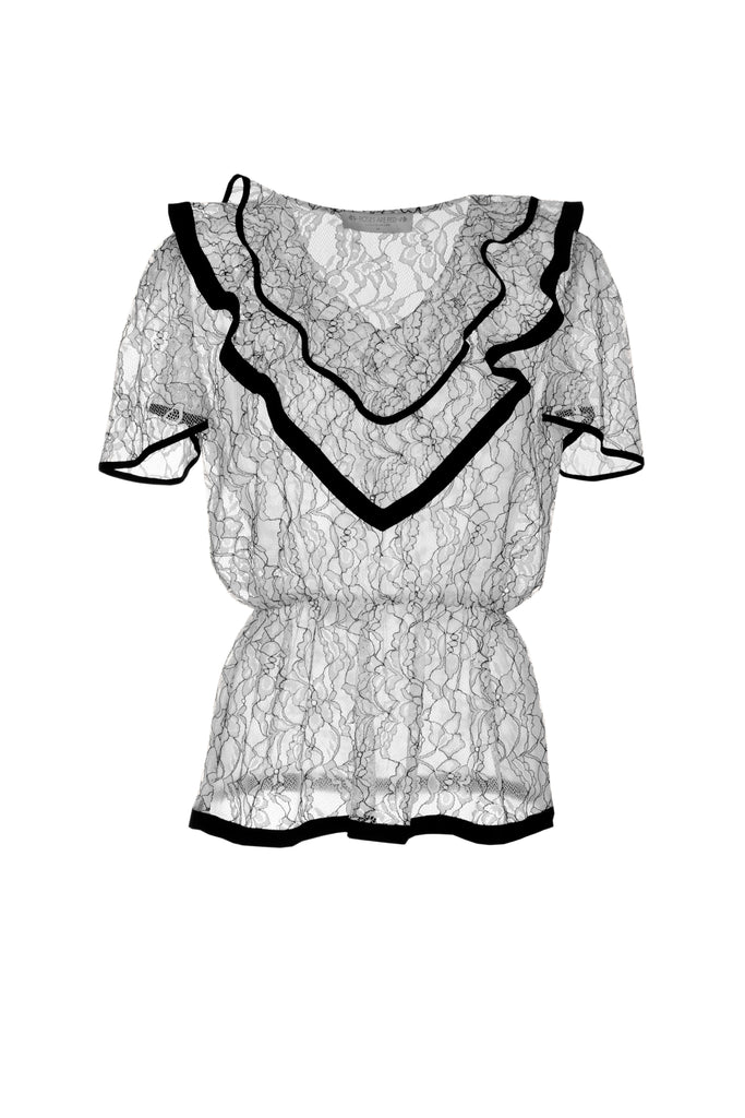 roses-are-red - ESTELLE SILK BLOUSE - LACE BLACK & WHITE - TOP