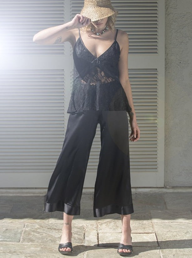 DIONE SILK PANTS - BLACK