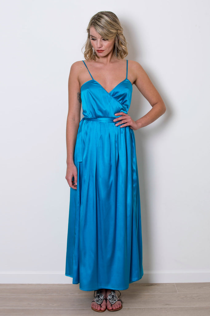 roses-are-red - MARION SILK WRAP DRESS - BLUE - DRESS
