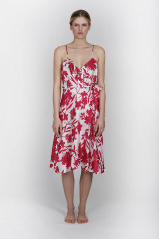ALOISE SILK DRESS - FLORAL FUCHSIA