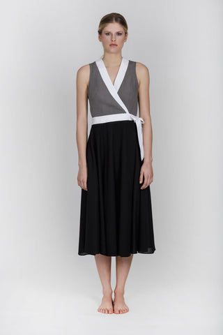 LESIA COTTON DRESS - BLACK / GREY