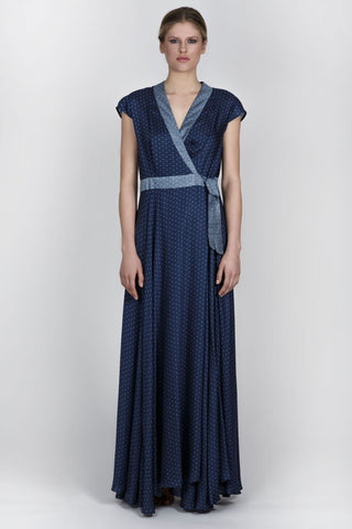 ODETTE SILK DRESS - BLUE PETROL