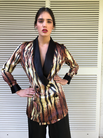 SILK BLAZER - ANIMAL PRINT