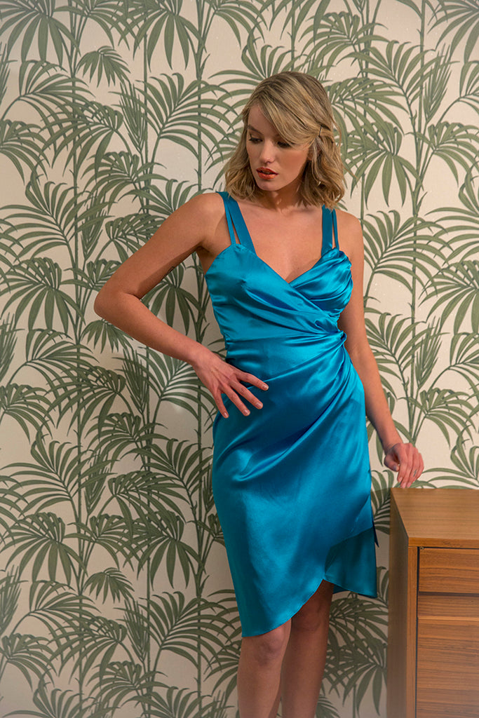 roses-are-red - LEA SILK WRAP DRESS - BLUE - DRESS
