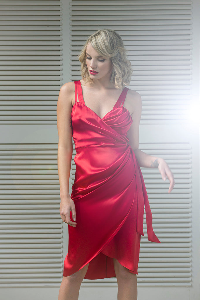 roses-are-red - LEA SILK WRAP DRESS - RED - DRESS