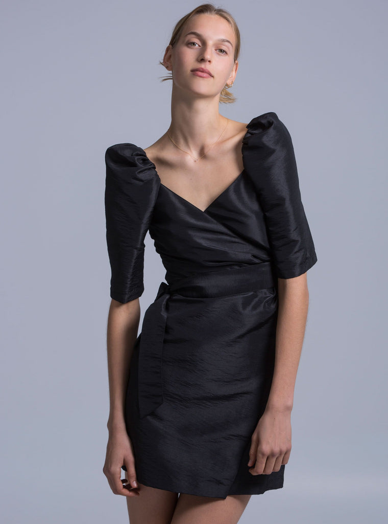 MIA TAFFETA DRESS - BLACK