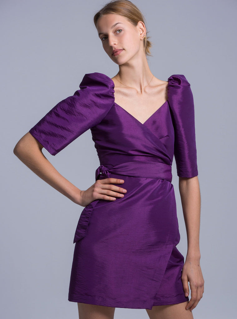 MIA TAFFETA DRESS - PURPLE