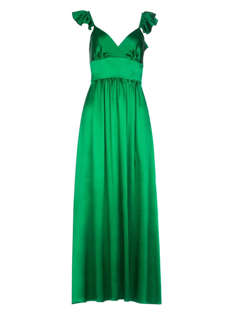 CHLOE SILK DRESS - EMERALD GREEN